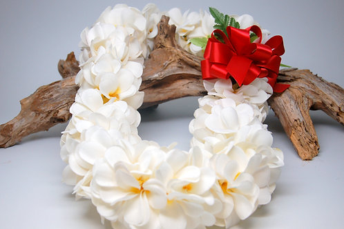 Silk Plumeria Flower Lei with Red Bow - Graduation, Wedding, Birthday