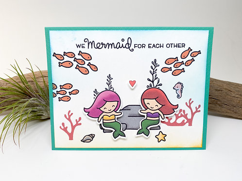 Handmade - We Mermaid for Each Other Greeting Card - Girlfriends, Lesbian, Queer