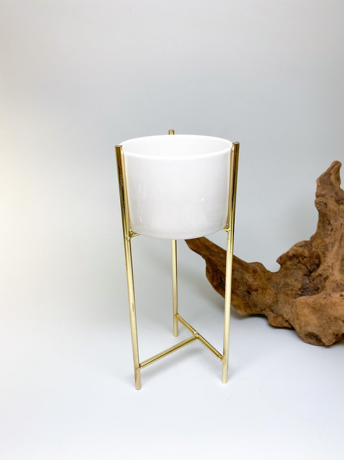 Table Top Brass Metal Stand with White Ceramic Planter