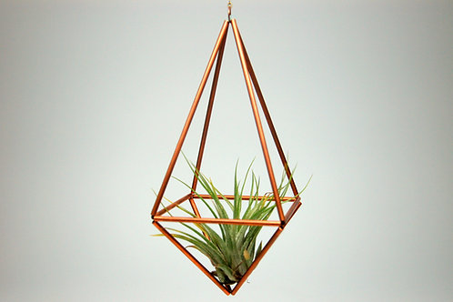 Design 3 - Hanging Copper Prism Geometric Ornament (Himmeli) with Air Plant