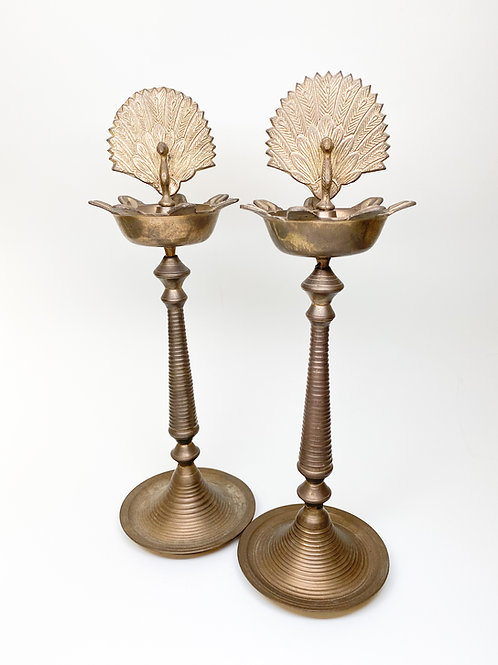 Pair Vintage Brass Peacock Ornamental  Stands - Asian Works of Art