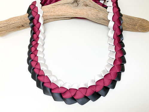Burgundy, White, and Black Woven Ribbon Lei - Graduation