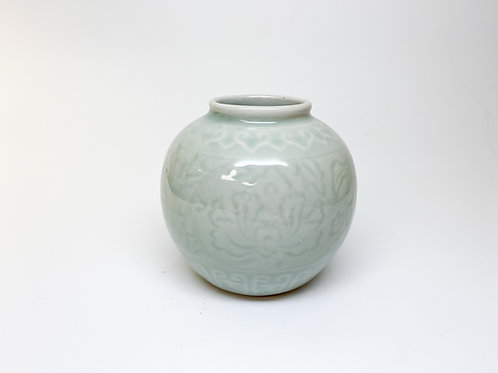 Celadon Glazed Porcelain Paint Brush Pot with Floral Pattern - Vase
