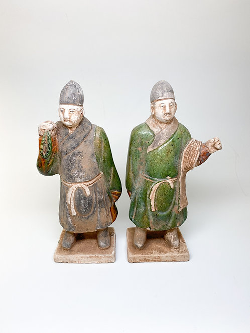Pair Tang Sancai Ceramic Vintage Replica of Tang Dynasty (618-907 AD) Servants