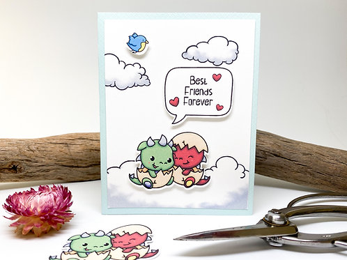 Handmade - Best Friends Forever Greeting Card - Baby Dragons