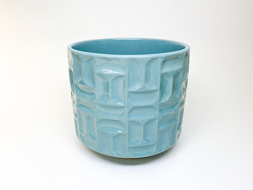 Pale Blue Glazed Textured Stoneware Cachepot Planter