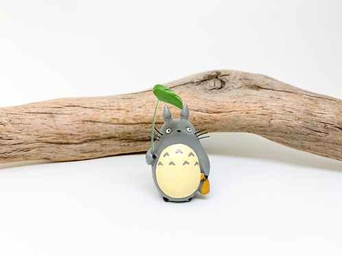 Grey Totoro Figurine Holding Leaf Umbrella