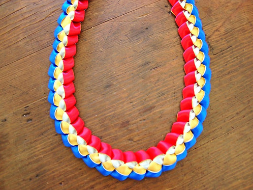 Blue, Gold, Ivory, and Red Woven Ribbon Lei - Filipino, Philippines, Heritage