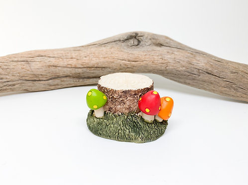 Mushroom and Tree Stump Figurine
