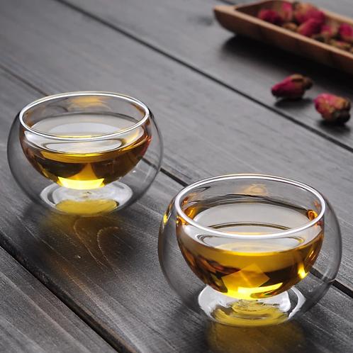 Set of Two Double-Walled Borosilicate Glass Teacups 2oz