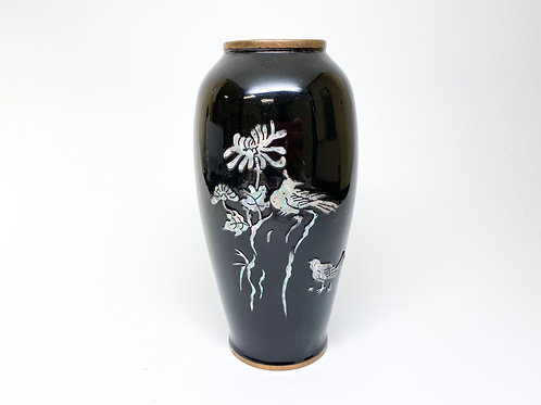 Early 20th Cent. Japanese Black Enamel Vase with Mother of Pearl and Brass Metal