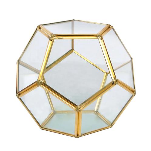 """5.5"""" Wide Gold Octagon Glass Terrarium"""