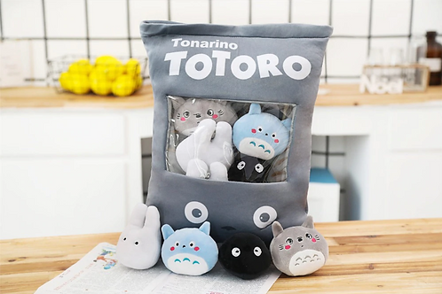 Totoro Anime Set of 8 Plushies in Decorative Zip-Up Pillow