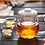 Thumbnail: Set of Borosilicate Glass Teapot with Filter and Two Double-Walled Teacups 2oz