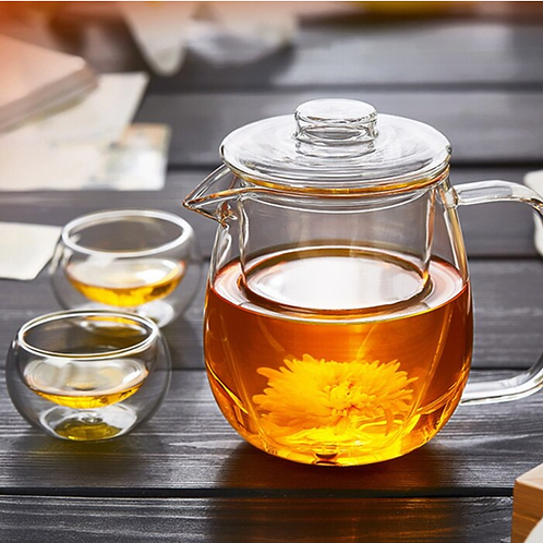 Set of Borosilicate Glass Teapot with Filter and Two Double-Walled Teacups 2oz