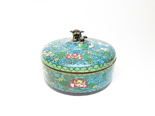 19th Century Qing Dynasty Bronze Inlay Cloisonne (Enamel) Export - Trinket Box