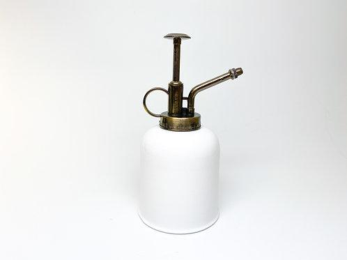 White Painted Metal Spray Bottle Vintage Style Bronze Spritzer