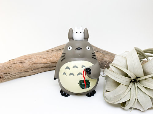 Large Totoro Figurine with Leaf Pouch