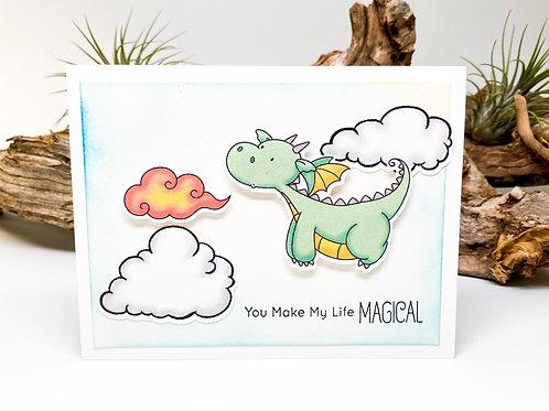 Handmade - You Make my Life Magical Greeting Card - Dragon