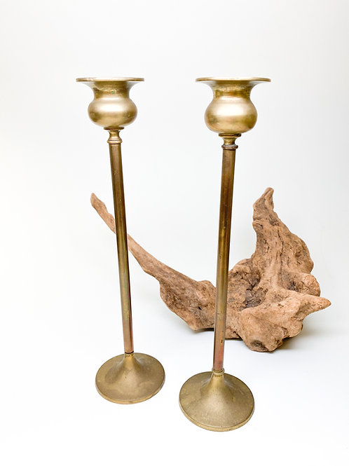 Vintage Used - Pair Brass Taper Candle Stands