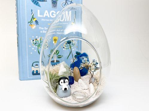 Design 22 - Egg-Shape Arctic Penguin with Blue Agate Terrarium Kit