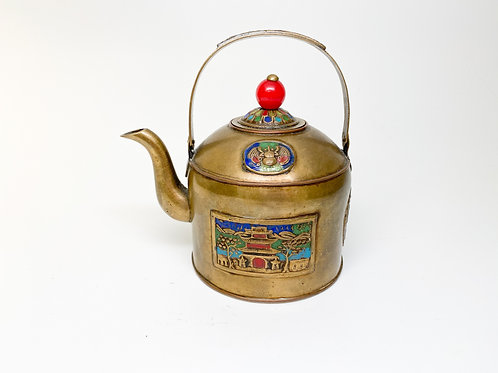 19th Century Bronze with Enamel Inlay Teapot - Import, Trade, Made in China