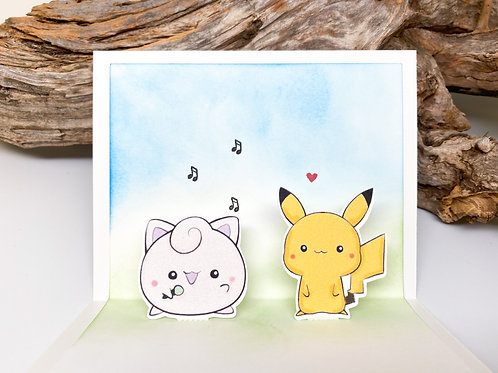 Handmade Jigglypuff and Pikachu Popup Card - Pokemon, Birthday, Valentine
