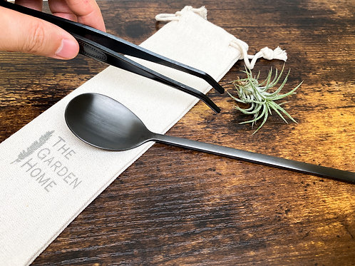 Matte Black Stainless Steel Terrarium Tools - Spoon, Tweezers, DIY