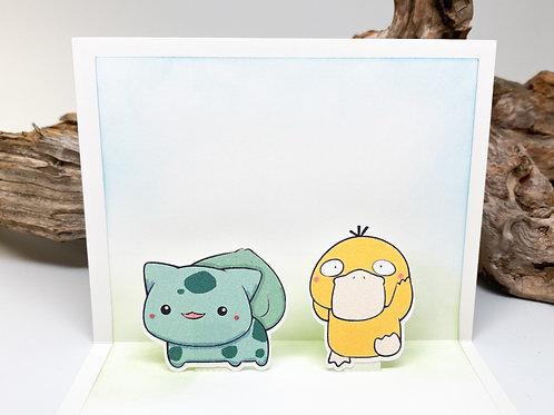 Handmade Bulbasaur and Psyduck Popup Card - Pokemon, Birthday, Valentine