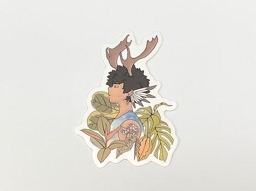 Forest Guardian - Nature Spirit Die Cut Sticker 2.5 in x 3.5 in, Plant Parent