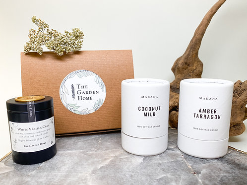Gift Set (Warm & Sweet) - Two 3oz Candles by MAKANA and Organic Tea