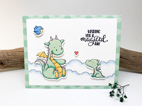 Handmade - Wishing You a Magical Day Greeting Card - Baby Dragon