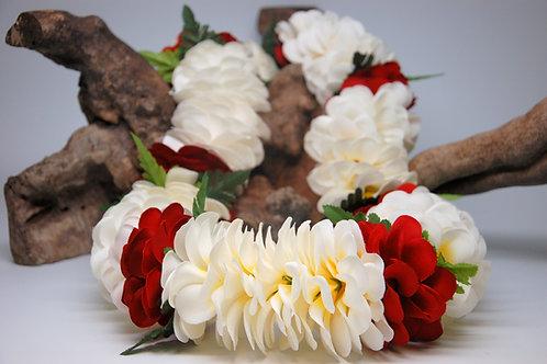 White and Red Silk Plumeria Flower Lei with Fern - Graduation, Wedding, Birthday