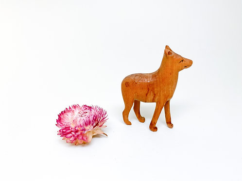 Hand Carved Wooden Dog Figurine