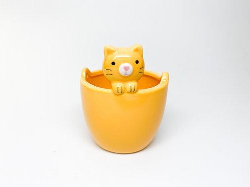 Versatile Yellow Kitty Planter Pot with Drainage Hole - Garden, Gardening