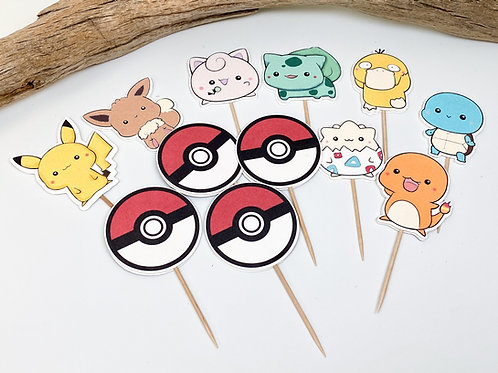 Set of 12 Handmade Pokemon Cupcake Toppers - Decoration, Birthday Party, Cake