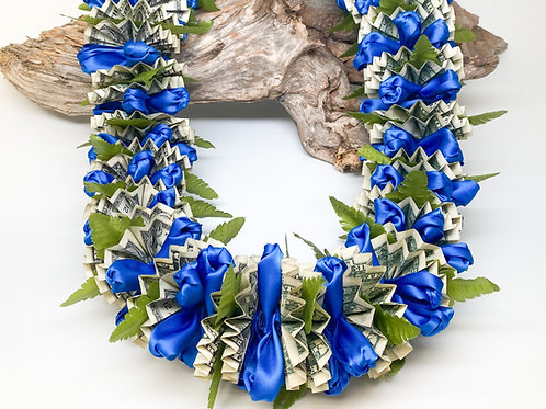 Hand-Stitched Satin Ribbon Lei w/ Silk Fern Leaves and 50 Single Dollar Bills