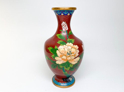 Late 20th Century Yellow and Pink Roses on Red Cloisonne Vase with Gold Clouds