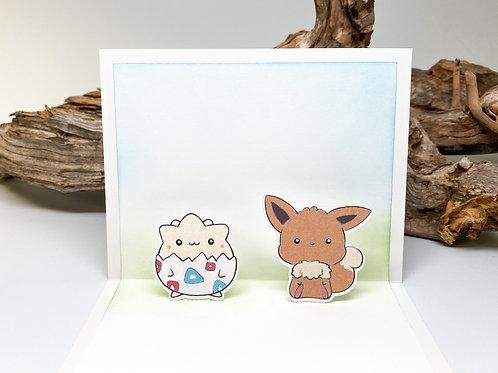 Handmade Togepi and Eevee Popup Card - Pokemon, Birthday, Valentine
