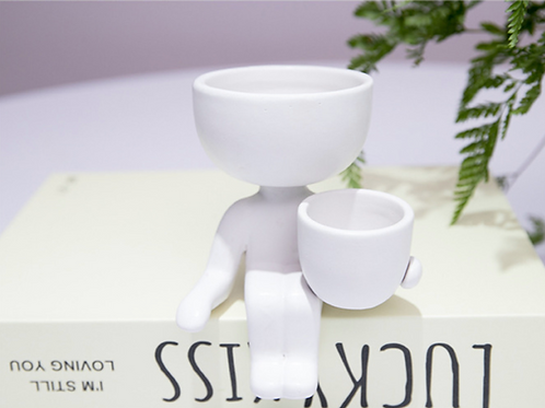White Humanoid Porcelain Planter with Detachable Mini Pot - Vase