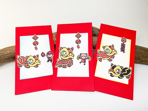 Set of Three (3) Red Envelopes with Lion Dancers - Lunar New Year