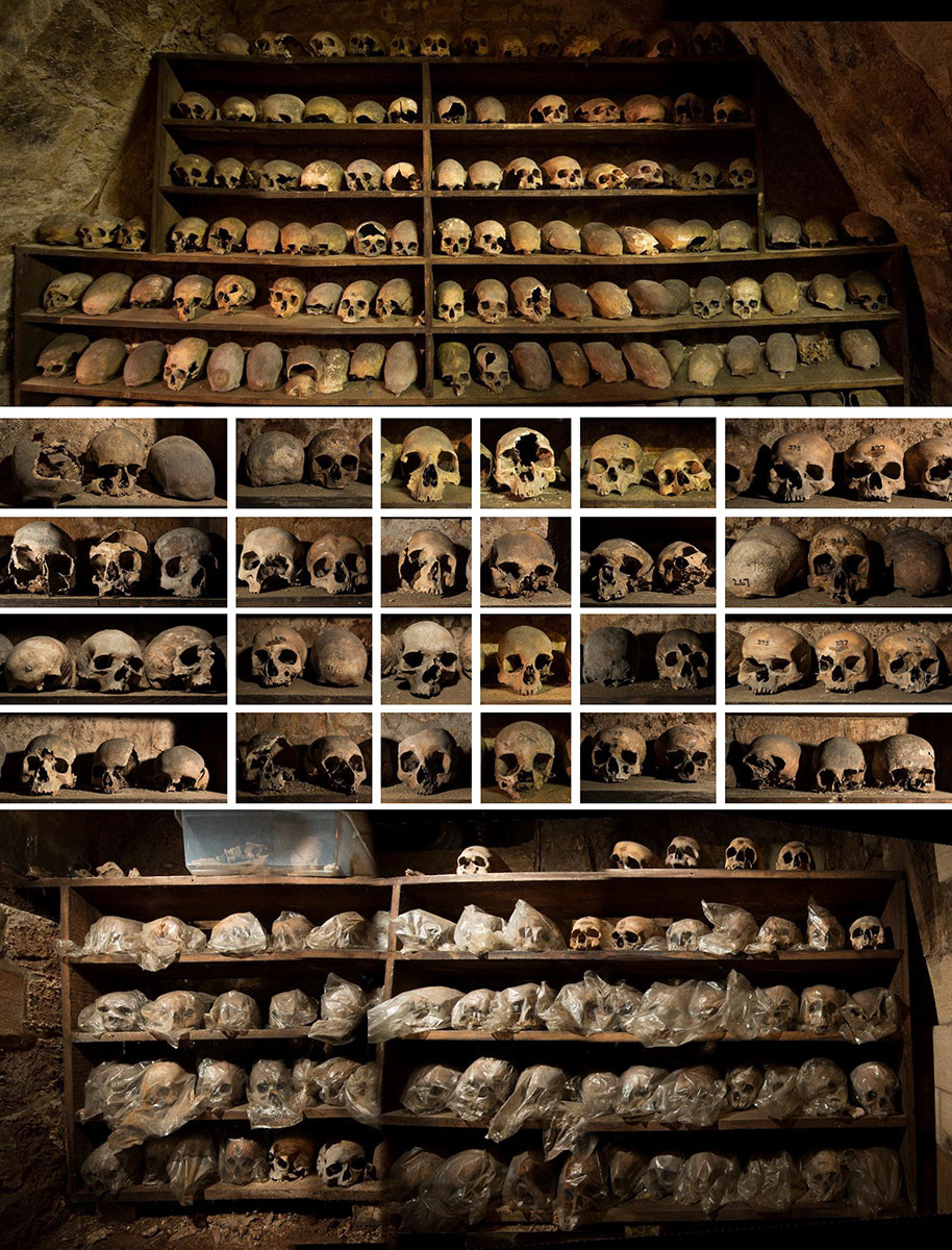 Rothwell Charnel Chapel combination picture of skulls