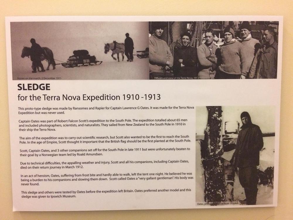 Sledge in Ipswich Museum corridor