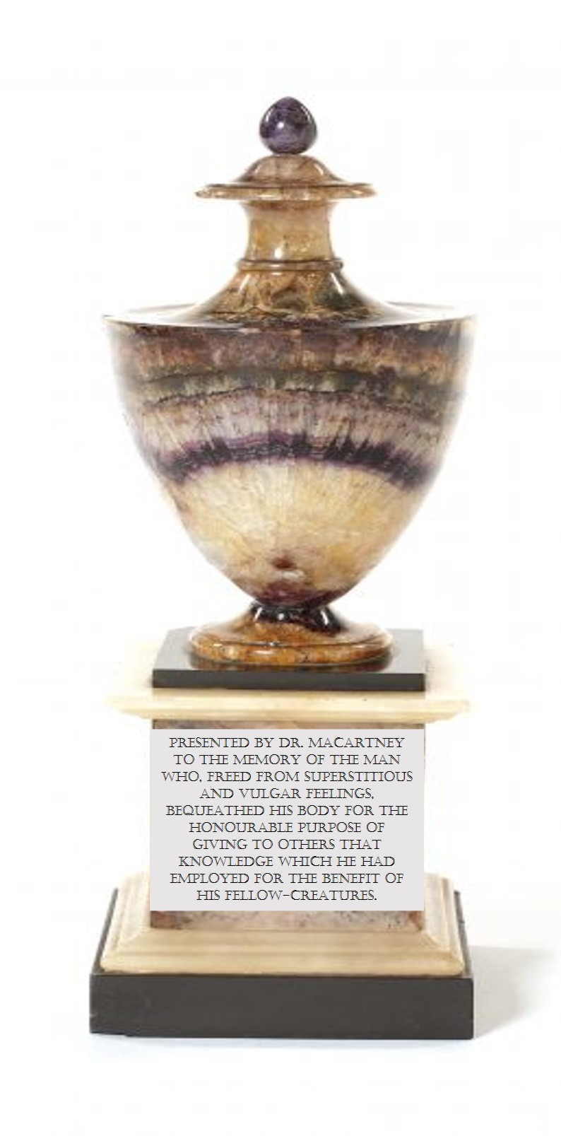 Recreation of vase with inscription to Dr Macartney