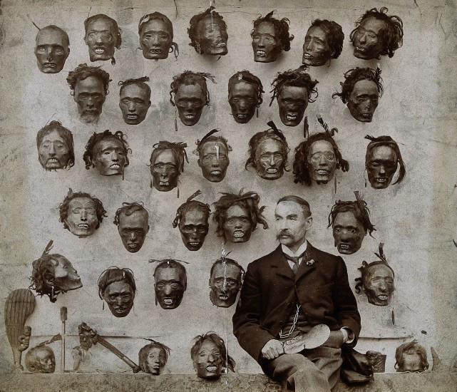 Major General Horatio Gordon Robley with his collection of severed heads - Image from the Wellcome Collection