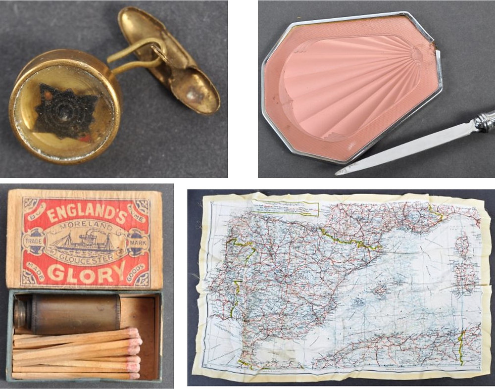 Top left an escape mini-compass set in a cufflink, bottom left a telescope in a box of matches, top right a ladies' makeup compact with hidden dagger, bottom right an escape map of Spain printed on silk