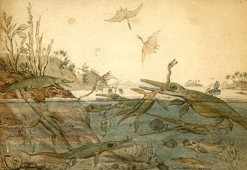 Ancient Dorset, 1830 watercolour by Henry De la Beche, with copious pooing activities