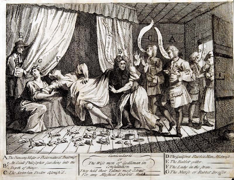 Hogarth's depiction of Mary Toft birthing rabbits