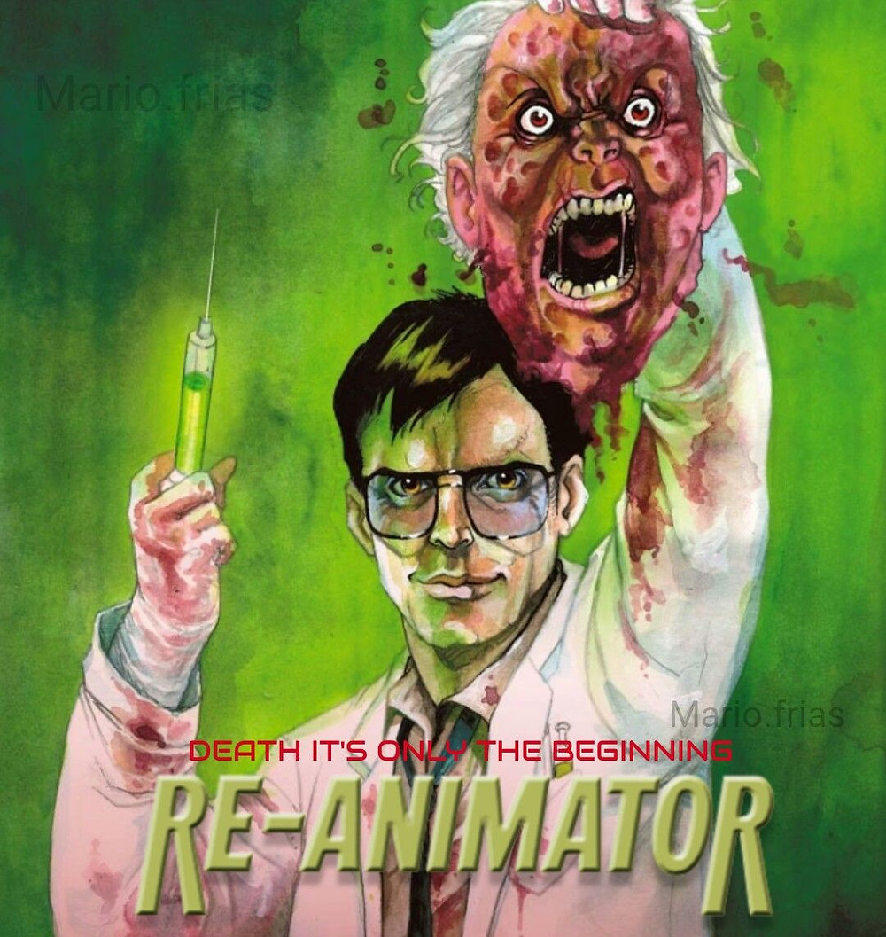 Reanimator film cover with mad scientist holding up a corpse head