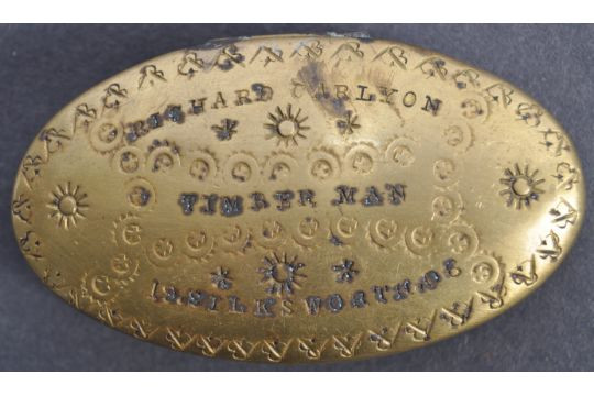 engraved stamped tobacco box